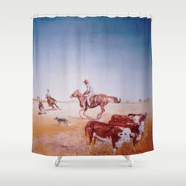Rousting the Cattle, AUSTRALIA         by Kay Lipton Shower Curtain