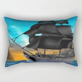Pirate Ship at Sunset Rectangular Pillow