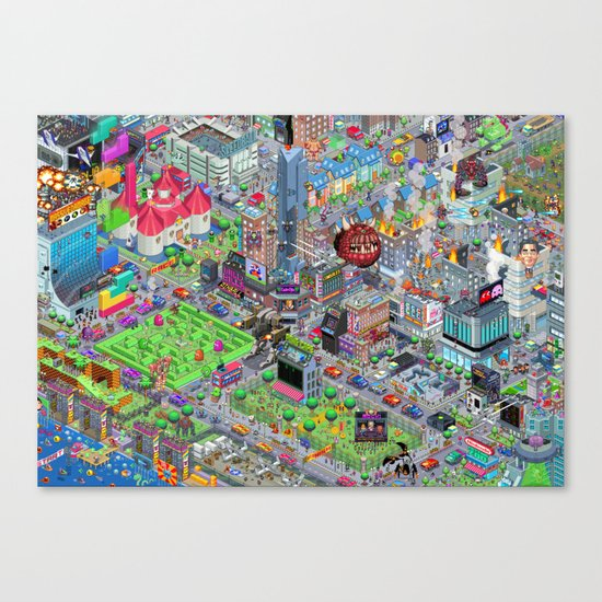 Videogame City V2.0 Canvas Print