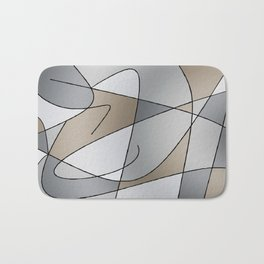 ABSTRACT CURVES #2 (Grays & Beiges) Bath Mat
