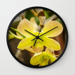 Yellow Rose Orchid Photography Print Wall Clock