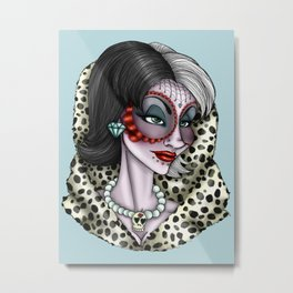 Day of the Dead Cruella De Vil - 101 Dalmatians  Metal Print