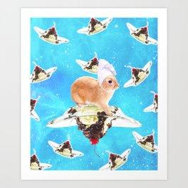 Chef Bunny Rabbit On Sundae In Space Art Print