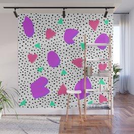 Modern pink purple geometric shapes triangles hearts 80s 90s pattern black hand drawn polka dots Wall Mural
