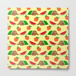 Cute funny sleeping dreaming baby sloths under a blanket, little peaches and red ripe summer tropical watermelons cartoon fantasy pastel sunny yellow pattern design Metal Print