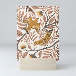 Secret Garden Birds - Neutral  Mini Art Print
