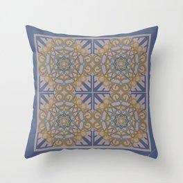 Gender Equality Tiled - Blue Ochre Throw Pillow