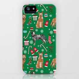 Austrian Cattle Dog red and blue merle christmas presents holiday dog breed pattern pet friendly iPhone Case