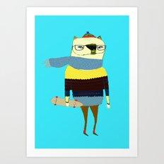 Bear Skateboarder, skateboarding print, skater Art Print