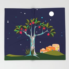 A Pomegranate Tree in Israel at Night, Harvest Throw Blanket