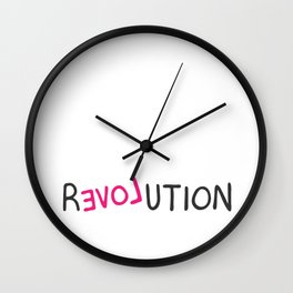 Revolution love pink grafitti Wall Clock