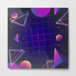 Universe Future Synthwave Aesthetic Metal Print