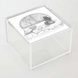 Rainy Day Window pencil illustration Acrylic Box