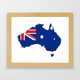 Australia Map with Australian Flag Framed Art Print