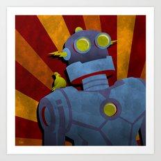 Retro Robot with Yellow Bird Art Print