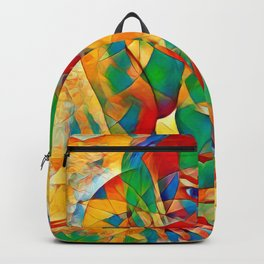 3334s-SRC Abstract Woman with Blue Eyes Rendered in Color and Style Backpack