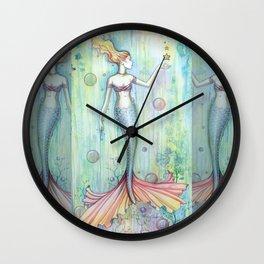 Bubbles Mermaid Fantasy Art by Molly Harrison Wall Clock