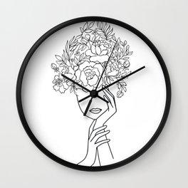Pensive Woman With Flower Head Minimal Line Art #Society6 #Buyart Wall Clock