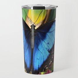 Blue Morpho Butterly by Reay of Light Travel Mug