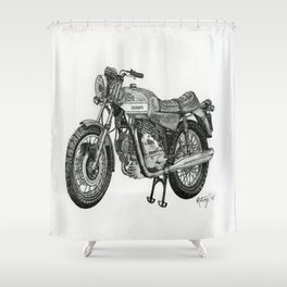 Stippled Motorbike  Shower Curtain