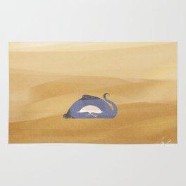 little dragon is sleeping in the sand illustration Rug