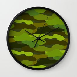 Camo-licious Collection: Wild Jungle Green Camouflage Pattern Wall Clock