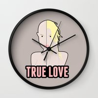 britney spears Wall Clocks featuring Britney Spears: True Love by Christopher Holden Mathews