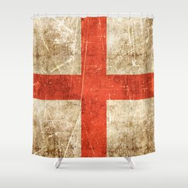 Vintage Aged and Scratched English Flag Shower Curtain
