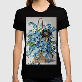 Dachshund and Forget-Me-Nots T-shirt