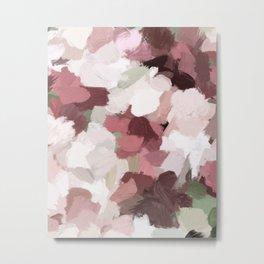 Fuchsia Blush Light Pink Maroon Burgundy Sage Green Abstract Flower Rose Wall Art Abstract Painting Metal Print