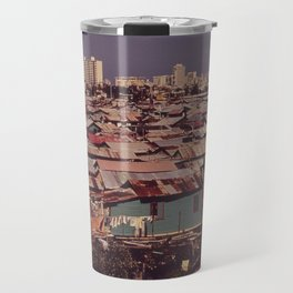 'MODERN BUILDINGS TOWER OVER THE SHANTIES CROWDED ALONG THE MARTIN PENA CANAL' Travel Mug