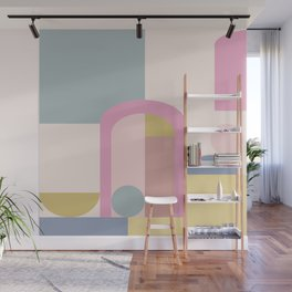 Modern Pastel Architecture Shapes in Pink, Yellow, and Blue Wall Mural