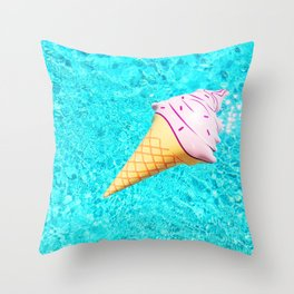 pink ice cream cone float all up in my pool yo Throw Pillow
