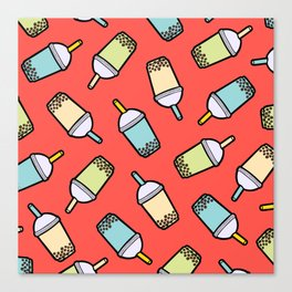 Bubble Tea Pattern in Red Canvas Print