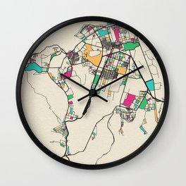 Colorful City Maps: Kinshasa, Congo Wall Clock