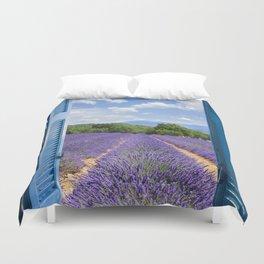 wooden shutters, lavender field Duvet Cover