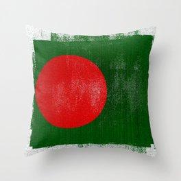 Bangladesh Distressed Halftone Denim Flag Throw Pillow