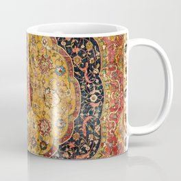 Indian Boho III // 16th Century Distressed Red Green Blue Flowery Colorful Ornate Rug Pattern Coffee Mug