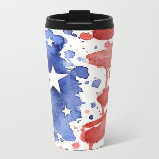 American Flag Watercolor Abstract Stars and Stripes Metal Travel Mug