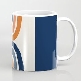 Abstract Shapes 11 in Burnt Orange and Navy Blue Coffee Mug