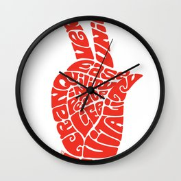 Life Force Hand in Vibrant Orange Wall Clock