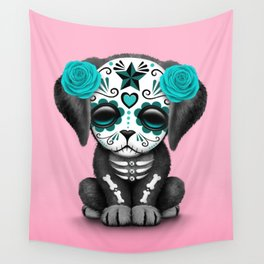 Cute Blue and Pink Day of the Dead Puppy Dog Wall Tapestry