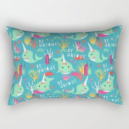 Narwhal Be Unique Pattern Rectangular Pillow