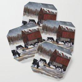 Holstein Dairy Cows in Snowy Barnyard; Winter Farm Scene No. 2 Coaster