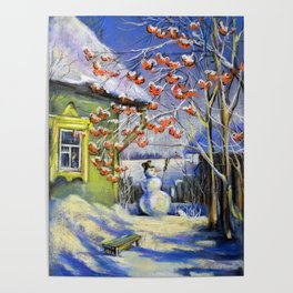 Morning snowman in the village Poster