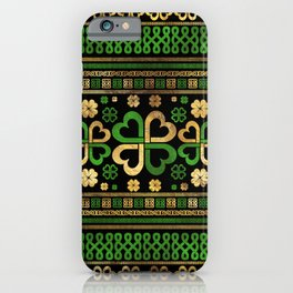 Lucky Shamrock Four-leaf Clover Green and Gold iPhone Case