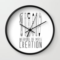 grey Wall Clocks featuring weapons of mass creation by Bianca Green