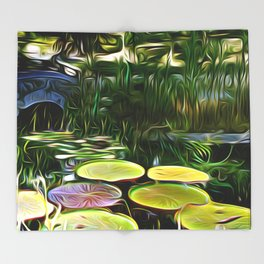 Greenery Pond Throw Blanket