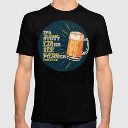 Beer always, vintage poster, circle, blue T-shirt