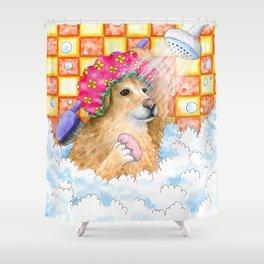 Dog 129 Funny Golden Retriever Shower Curtain